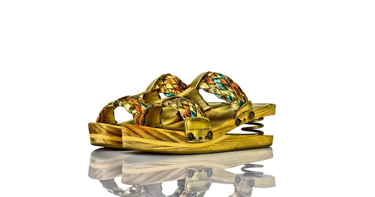 Pantoletten Federung Gold Geflochten