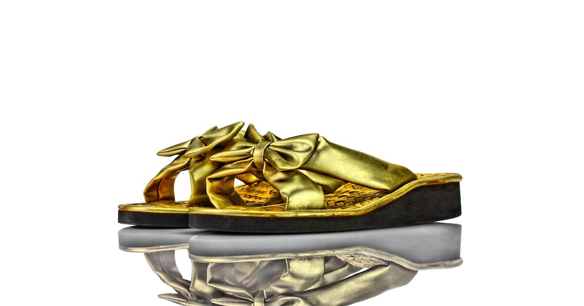 Pantoletten Keilabsatz Gold Leder Schleife