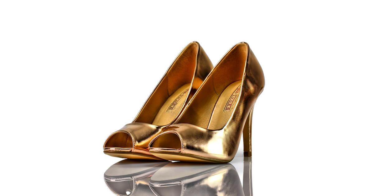 Pumps Peeptoe Kupfer Metallic Buffalo Shoes