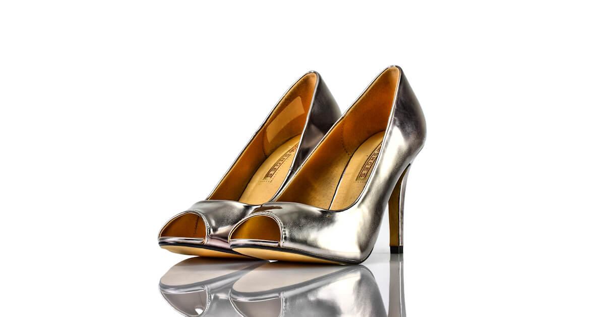 Pumps Peeptoe Silber Metallic Buffalo Shoes