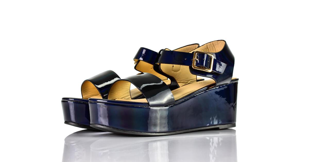 Sandaletten Plateau Keilabsatz Lack Blau Super Mode