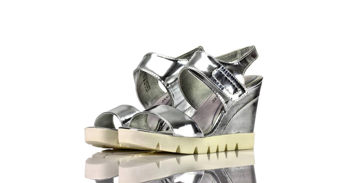Sandaletten Plateau Keilabsatz Silber Marco Tozzi
