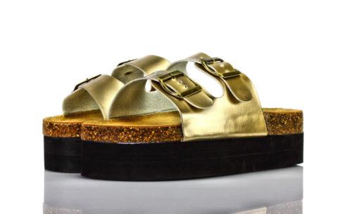 Pantoletten Plateau Gold BPC Bon Prix