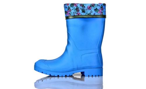 Gummistiefel Mittel Blau Blumen Lidl
