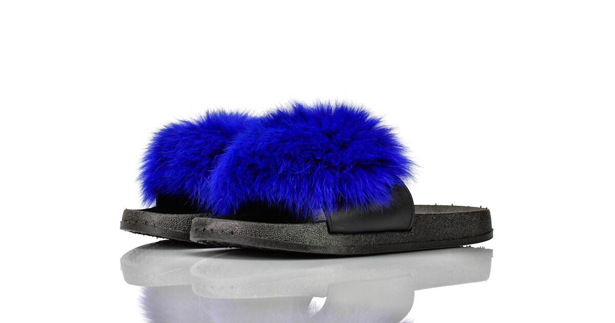Badeschuhe Blau Puschel Marabou