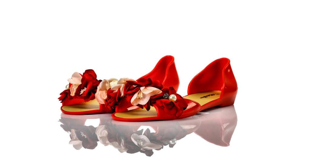 Badeschuhe Rot Pvc Blumen Perlen Bello Star
