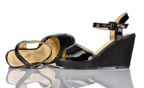 Sandaletten Plateau Keilabsatz Schwarz Lack Queen Tina
