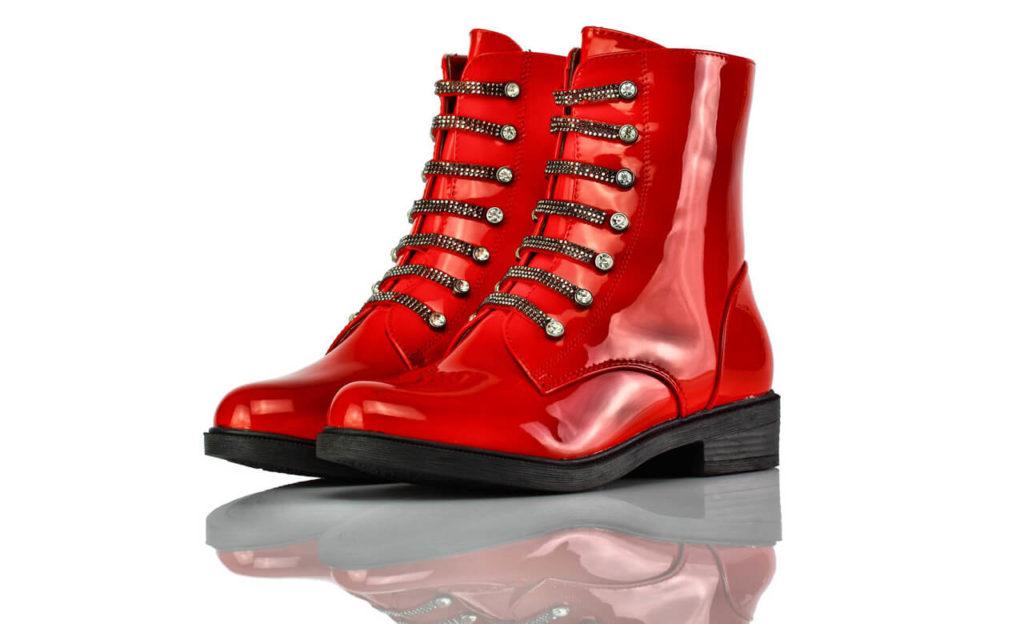 Stiefel Kurz Rot Lack BlingBling