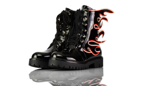 Stiefel Kurz Schwarz Lack Flammen