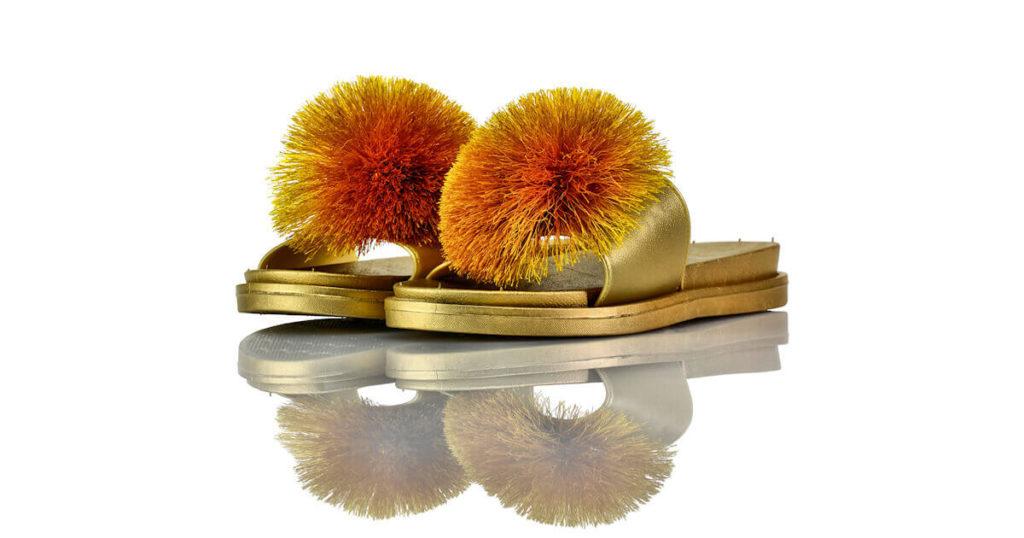 Badeschuhe Gold Bommel Fashion