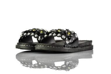 Badeschuhe Perlen Schwarz Lack Fashion