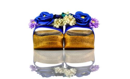 Badeschuhe Plateau Blau Plastik Blumen Torino