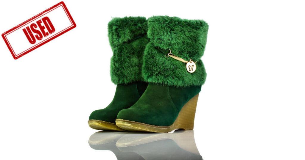 Stiefel Kurz Keilabsatz Grün Fell