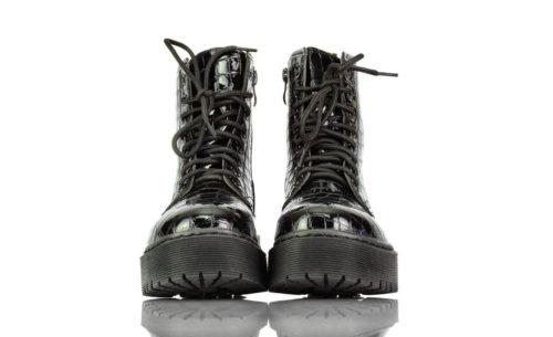 Stiefel Kurz Schwarz Lack Kroko Ideal Shoes