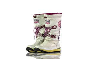 Stiefel Mittel Winter Gefüttert Weiß Lack