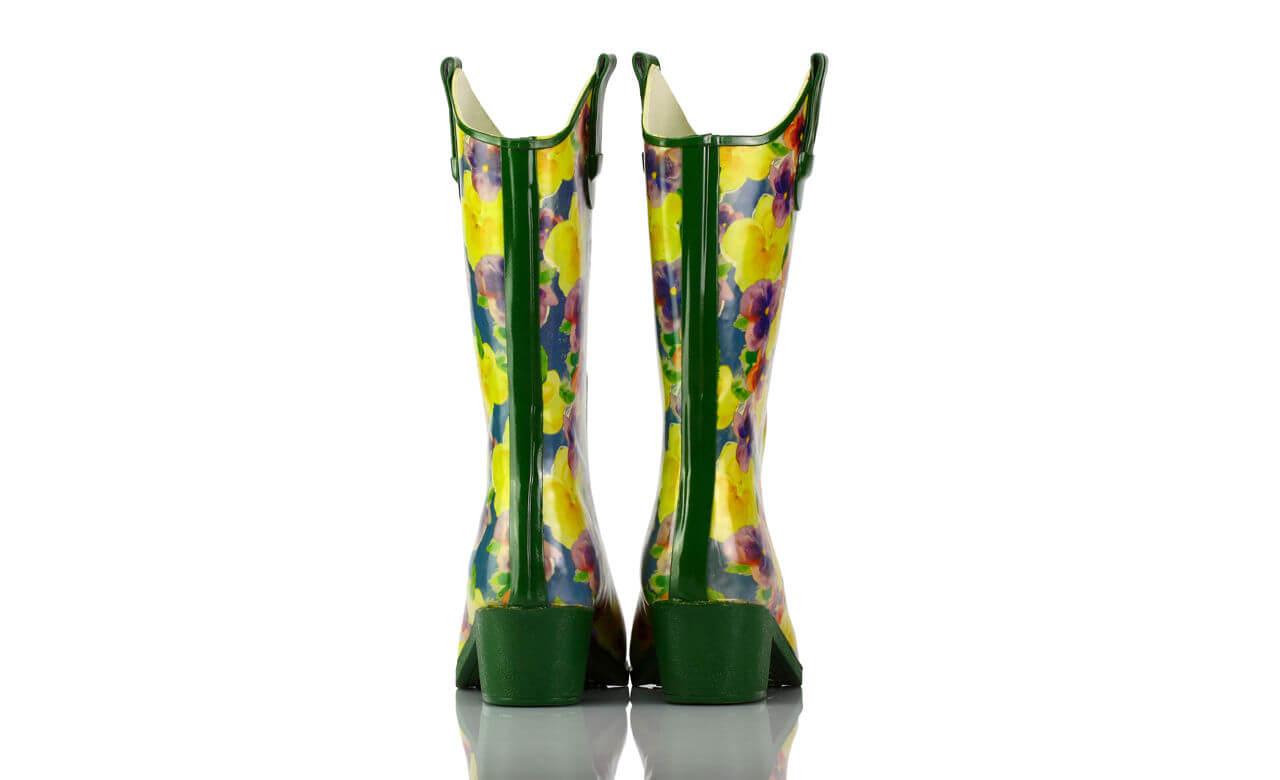 Gummistiefel Absatz Westernstyle Blumen