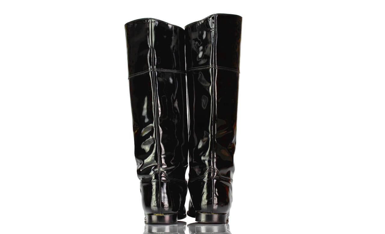 Stiefel Schwarz Lack Vintage